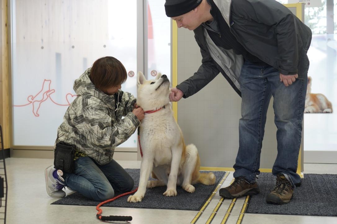 ワンニャピアあきたで、保護犬の譲渡式が行われました。